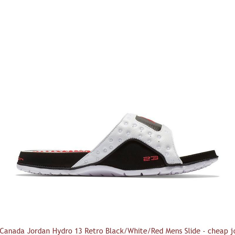526d0081329b Canada Jordan Hydro 13 Retro Black White Red Mens Slide – cheap ...