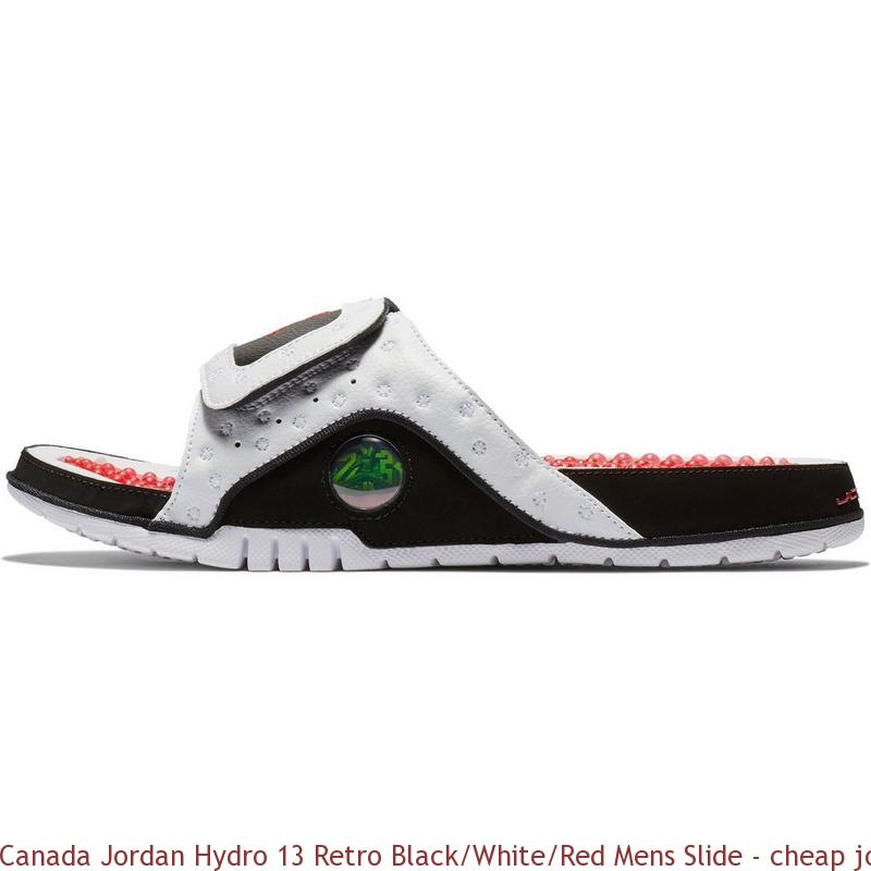 c7d9b370a4b2 Canada Jordan Hydro 13 Retro Black White Red Mens Slide – cheap jordan shoes  ...
