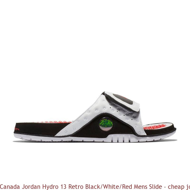 ef22aeb37b093f Canada Jordan Hydro 13 Retro Black White Red Mens Slide – cheap ...