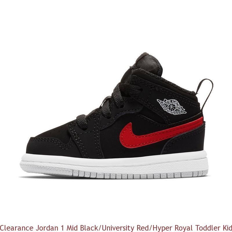 buy popular 0fb4f d984e Clearance Jordan 1 Mid Black/University Red/Hyper Royal Toddler Kids Shoe -  cheap jordans wholesale free shipping - R0291