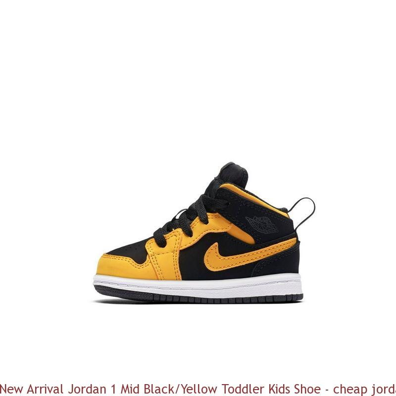 differently bbc3c 238c2 New Arrival Jordan 1 Mid Black/Yellow Toddler Kids Shoe - cheap jordans  size 4 - R0294